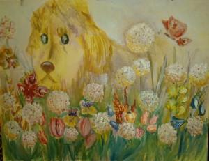 Картина Любопытный Собак в одуванах