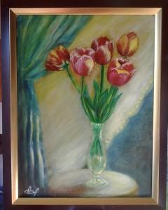 Тюльпаны, холст, масло, 30х40. В частной коллекции