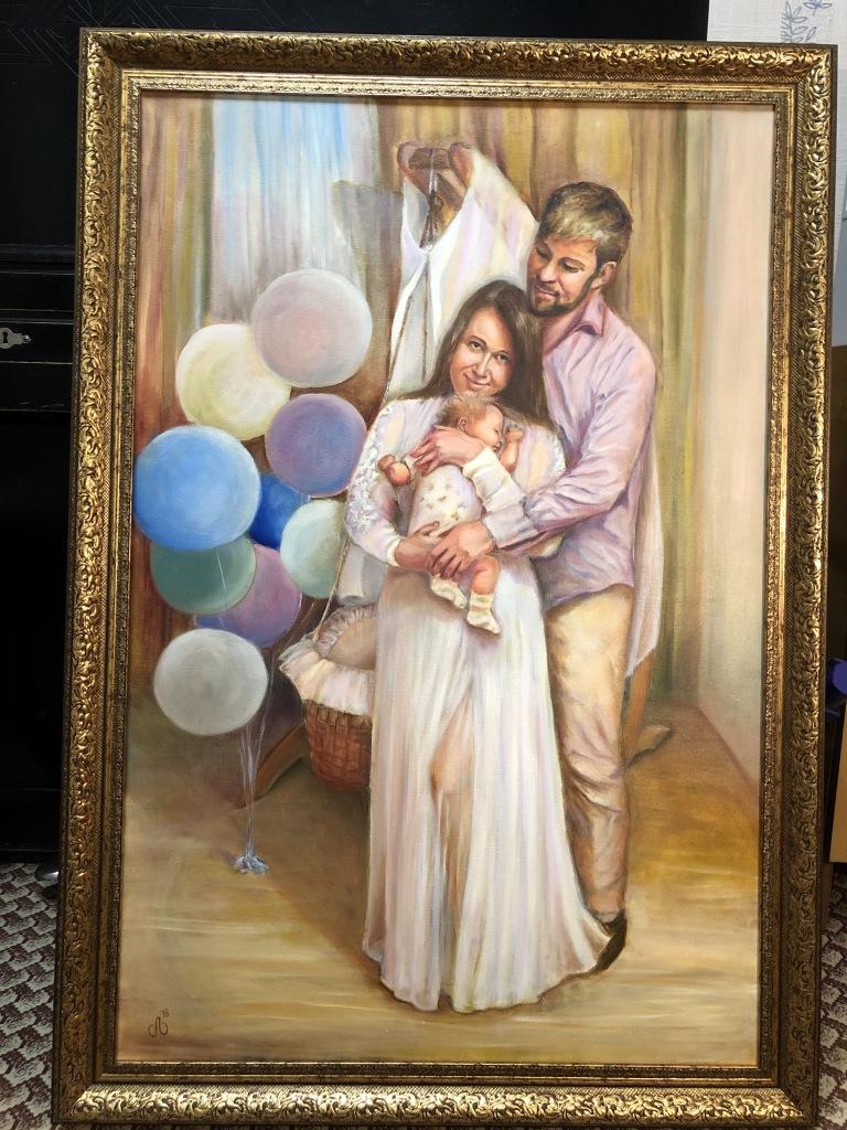 семейный портрет, масло, холст, 60х90