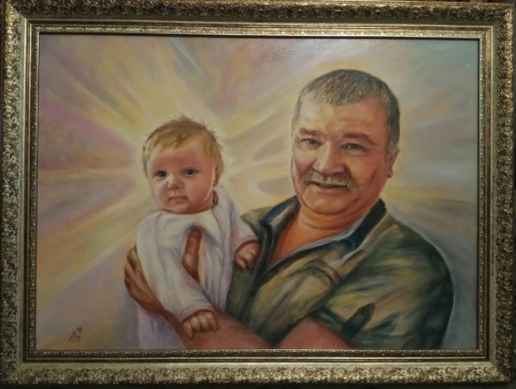 Первая встреча Деда с Внуком, 50х70, холст, масло