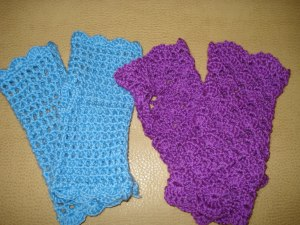 Ажурные митенки (перчатки без пальцев)