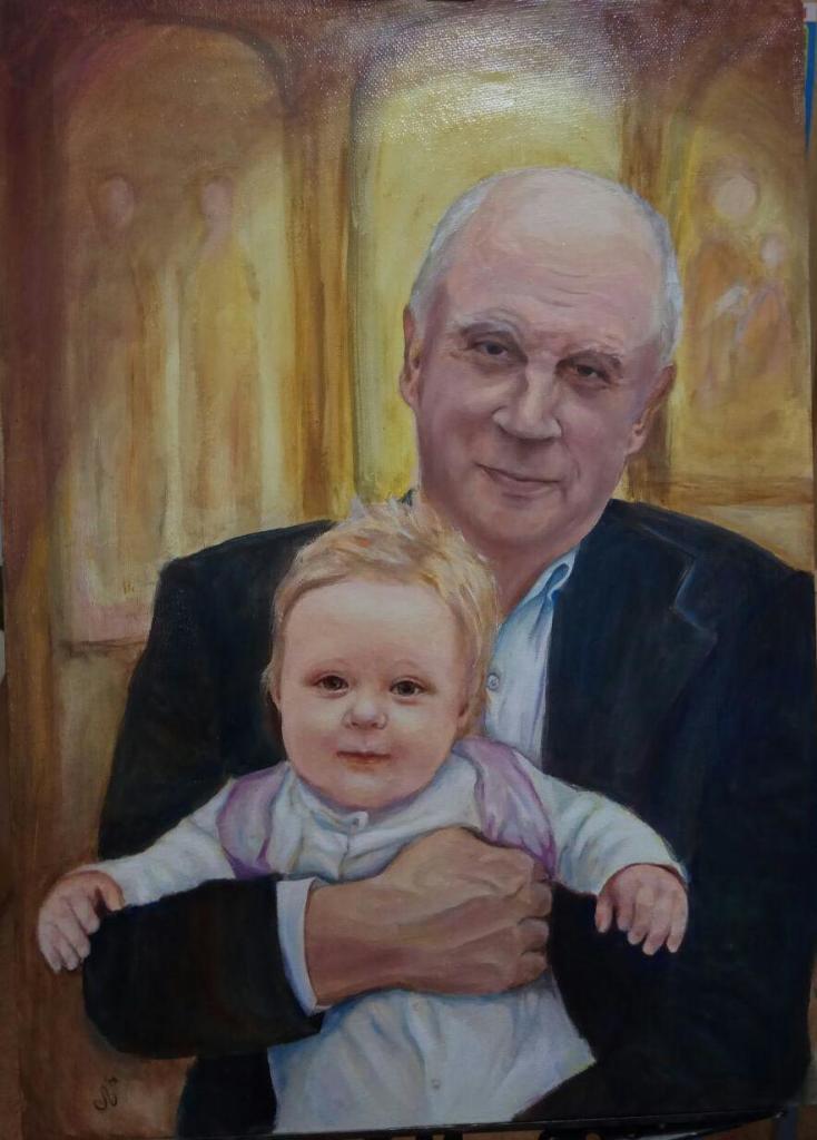 дед с внуком, 50х70, холст, масло