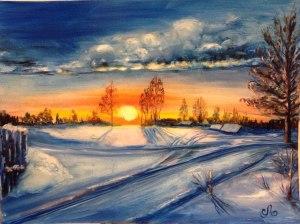 Зимний закат, масло, холст, 30х40