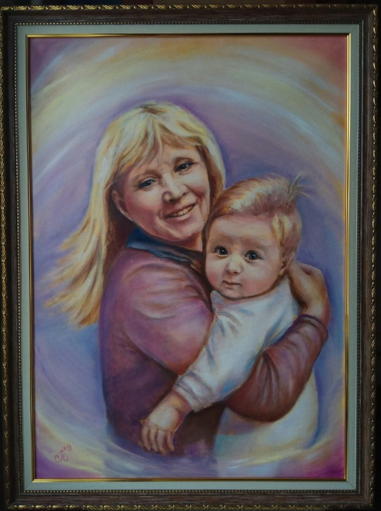 Бабушка с внуком. Холст, масло, 50х70